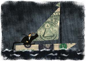Businessman Sailing in Boat Made of Money